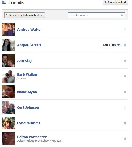 ... friends into targeted lists using Facebook's Friends Lists feature