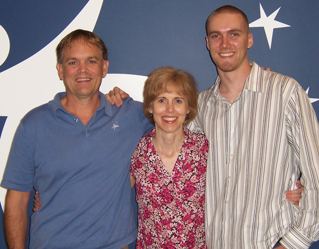 From left to right: Curt Johnson, Ann Sieg, Isaiah Sieg circa 2005